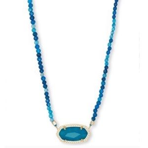 Kendra Scott Gold Teal Elisa Beaded Necklace
